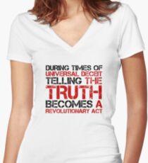 Camiseta entallada de cuello en V Cita de George Orwell Libertad de Verdad Libertad de expresión
