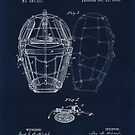 Vintage Baseball Catcher's Mask patent blueprint from 1883 by Glimmersmith