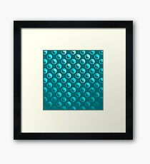 Teal Blue Faux Foil Yin Yang Tao Balance Metallic Chinese Taoism Symbol  Background Texture Pattern Framed Print