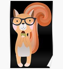 Funny Cartoon Animals Squirrel With Acorn Poster