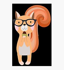 Funny Cartoon Animals Squirrel With Acorn Photographic Print