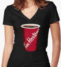 Camiseta entallada de cuello en V La copa de Tim Horton