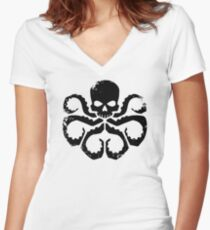 HYDRA Badge - Black Women's Fitted V-Neck T-Shirt