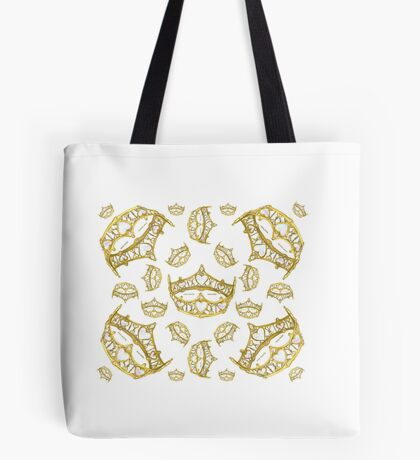 Queen of Hearts gold crown tiara tossed about by Kristie Hubler Tote Bag