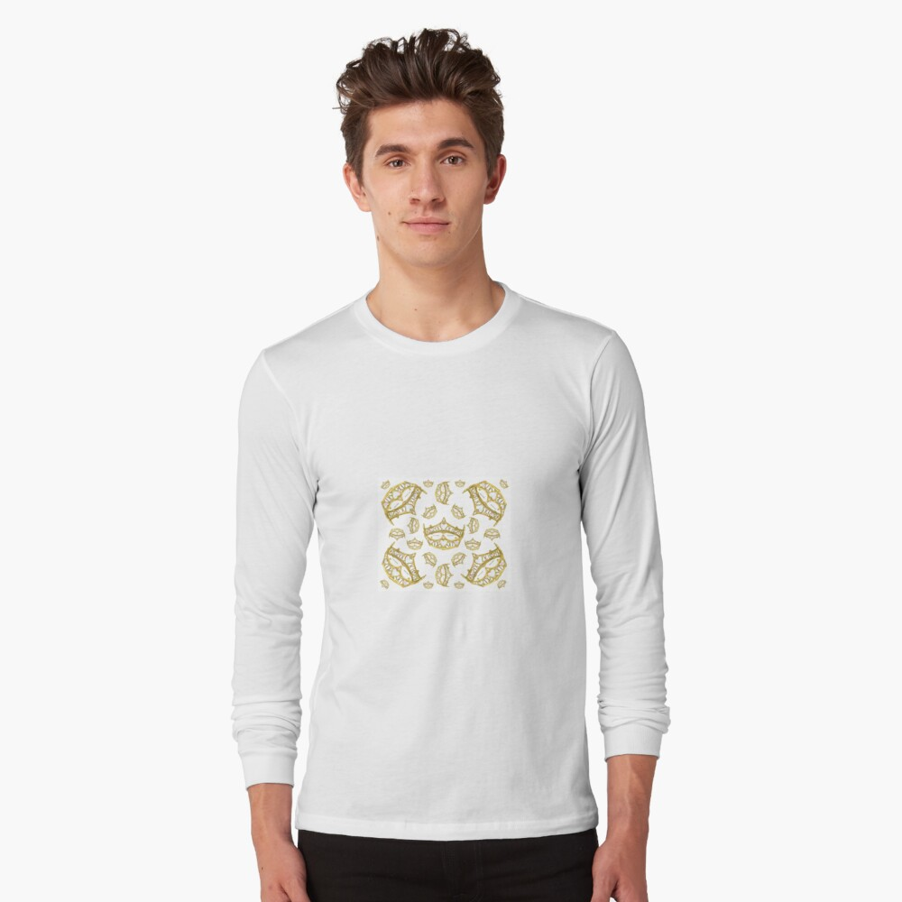 Queen of Hearts gold crown tiara tossed about by Kristie Hubler Long Sleeve T-Shirt Front