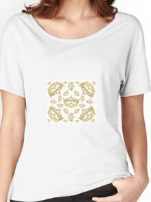 Queen of Hearts gold crown tiara tossed about by Kristie Hubler Women's Relaxed Fit T-Shirt