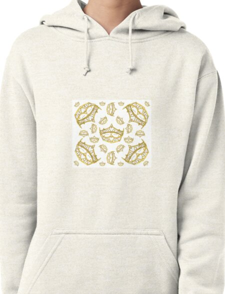Queen of Hearts gold crown tiara tossed about by Kristie Hubler Pullover Hoodie