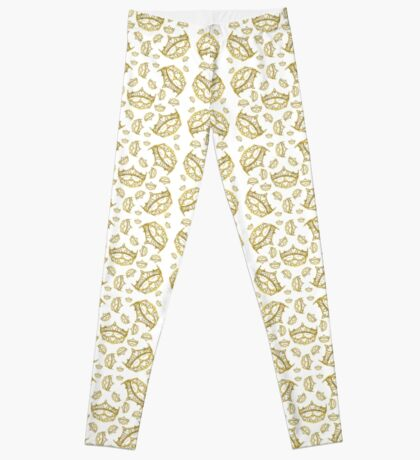 Queen of Hearts gold crown tiara tossed about by Kristie Hubler Leggings