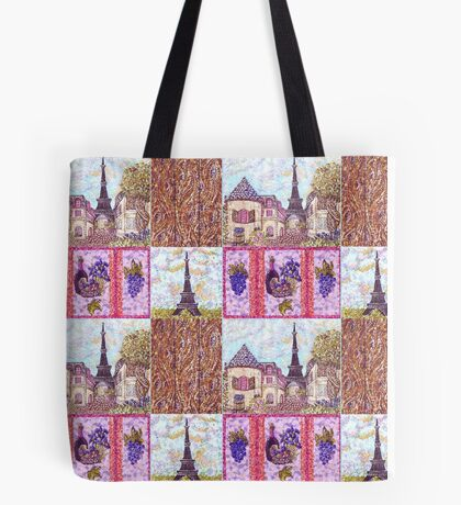 Paris Inspired Pointillism Grapes Wine Wood by Kristie Hubler Tote Bag