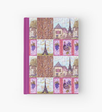 Paris Inspired Pointillism Grapes Wine Wood by Kristie Hubler Hardcover Journal