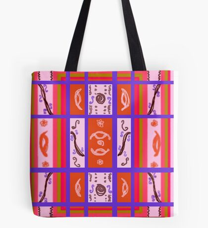 Curvy Plaid Abstract Feminine Folk Art by Kristie Hubler Tote Bag