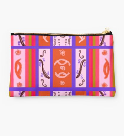 Curvy Plaid Abstract Feminine Folk Art by Kristie Hubler Studio Pouch