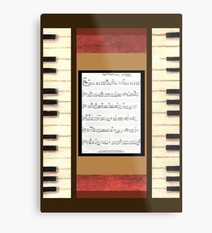 Piano keys with sheet music by Kristie Hubler Metal Print