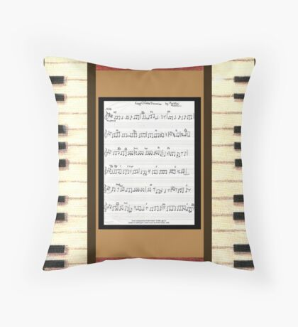 Piano keys with sheet music by Kristie Hubler Throw Pillow