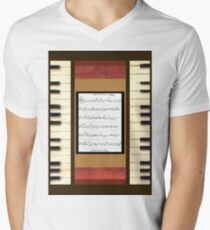 Piano keys with sheet music by Kristie Hubler Men's V-Neck T-Shirt