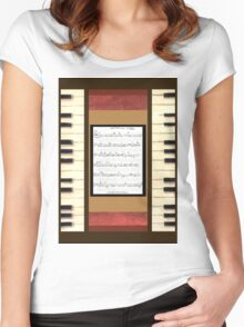 Piano keys with sheet music by Kristie Hubler Women's Fitted Scoop T-Shirt