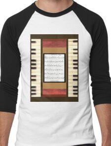 Piano keys with sheet music by Kristie Hubler Men's Baseball ¾ T-Shirt