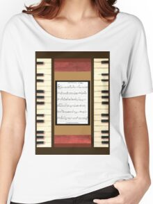 Piano keys with sheet music by Kristie Hubler Women's Relaxed Fit T-Shirt