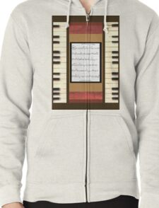 Piano keys with sheet music by Kristie Hubler Zipped Hoodie