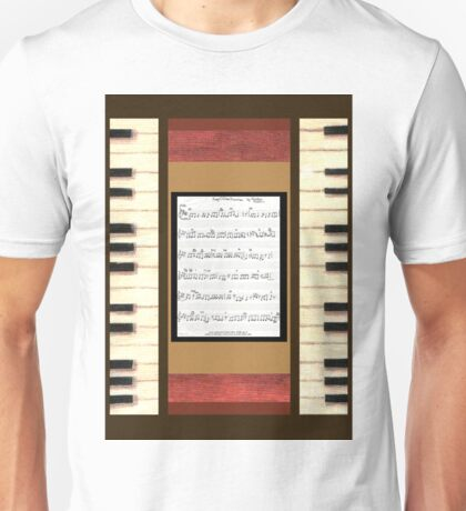 Piano keys with sheet music by Kristie Hubler Unisex T-Shirt