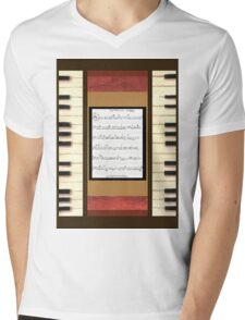 Piano keys with sheet music by Kristie Hubler Mens V-Neck T-Shirt
