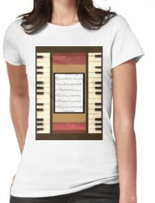Piano keys with sheet music by Kristie Hubler Womens Fitted T-Shirt