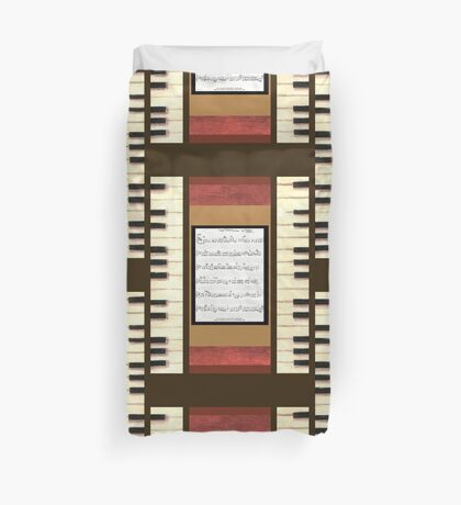 Piano keys with sheet music by Kristie Hubler Duvet Cover