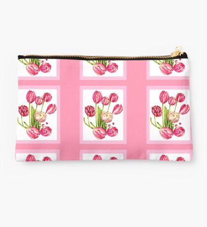 9 bunches of Pink Tulip Flowers by Kristie Hubler Studio Pouch