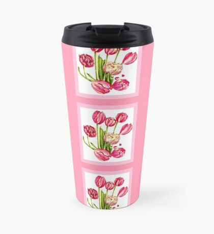 9 bunches of Pink Tulip Flowers by Kristie Hubler Travel Mug