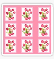 9 bunches of Pink Tulip Flowers by Kristie Hubler Sticker