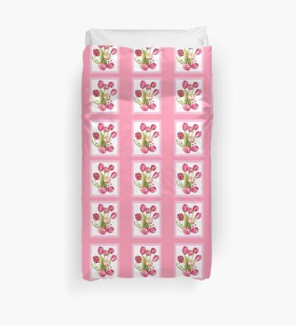 9 bunches of Pink Tulip Flowers by Kristie Hubler Duvet Cover