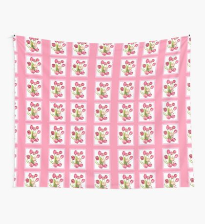 9 bunches of Pink Tulip Flowers by Kristie Hubler Wall Tapestry
