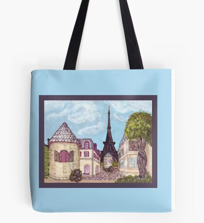 Paris Eiffel Tower inspired impressionist landscape by Kristie Hubler Tote Bag