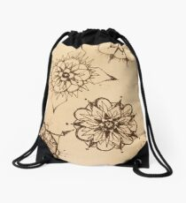 Inky Thought-Flowers Drawstring Bag
