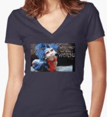"The Labyrinth Worm Quote ""who, me? Nahh, im just a worm"" Women's Fitted V-Neck T-Shirt"