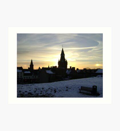 Sundogs, sunset behind City Chambers, Dunfermline Art Print