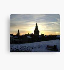 Sundogs, sunset behind City Chambers, Dunfermline Canvas Print