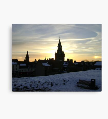 Sundogs, sunset behind City Chambers, Dunfermline Canvas Print