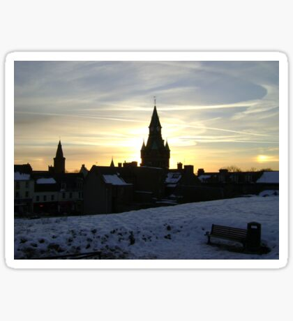 Sundogs, sunset behind City Chambers, Dunfermline Sticker