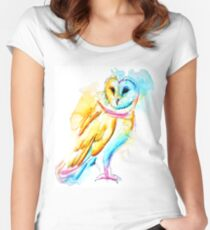 Snow Owl Watercolor Fitted Scoop T-Shirt