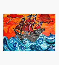 pirate ship windy sunset Photographic Print