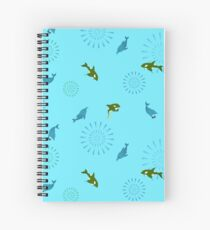Blue Dolphin and Orca Spiral Notebook