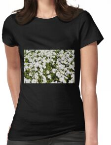 Beautiful pattern with white flowers in the garden. Womens Fitted T-Shirt