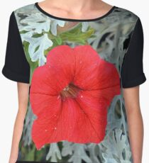 Macro on beautiful red flower in the garden. Women's Chiffon Top