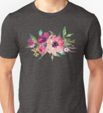 Watercolor Wild Flower Pink Bouquet Unisex T-Shirt