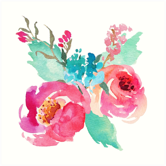 Watercolor Colorful Pink Coral Turquoise Flowers Art Prints By