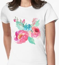 Watercolor Colorful Pink Coral Turquoise Flowers T-Shirt