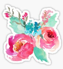 Watercolor Colorful Pink Coral Turquoise Flowers Sticker
