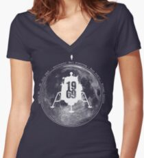 Apollo 11 Moon Landing Women's Fitted V-Neck T-Shirt