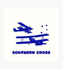 Southern Cross  Australian Aviation Lino Print in Blue with Text Art Print